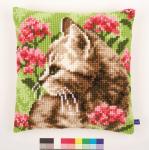 Vervaco PN-0155961 Kreuzstichkissen Katze im Blumenfeld