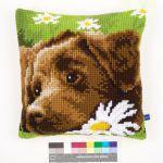 Vervaco Kreuzstichkissen PN-0153855 Brauner Labrador