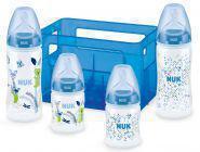 NUK 10225106 First Choice Plus Boy Set mit 4 Anti-Colic Babyflaschen (2x 150ml / 2x 300ml) inkl. Silikon-Trinksaugern und Flaschenbox