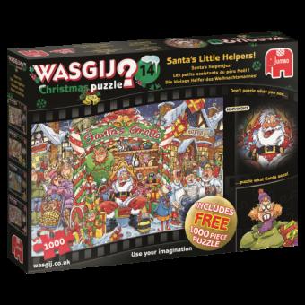 Jumbo 19162 Wasgij Christmas Die kleinen Helfer des Weihnachtsmannes! +1 gratis Puzzle ,1000 Teile Puzzle