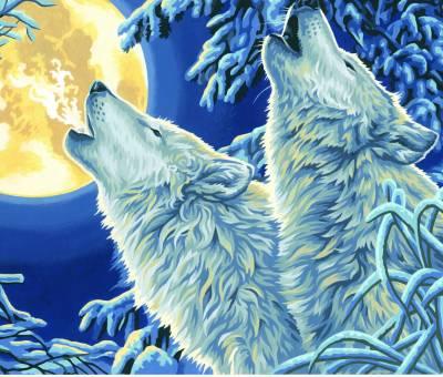 Dimensions 91670  Wölfe im Mondschein Malen nach Zahlen
