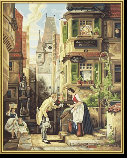 Der ewige Hochzeiter nach Carl Spitzweg (1808 - 1885) Malen nach Zahlen