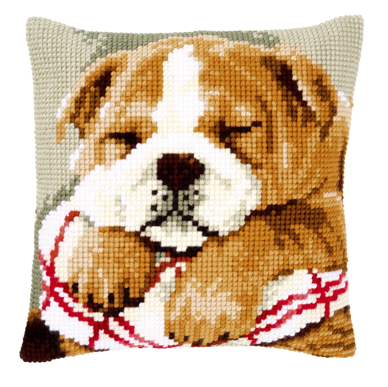 Vervaco Pn 0146577 Kreuzstichkissen Bulldogge Beim Mittagsschlaf
