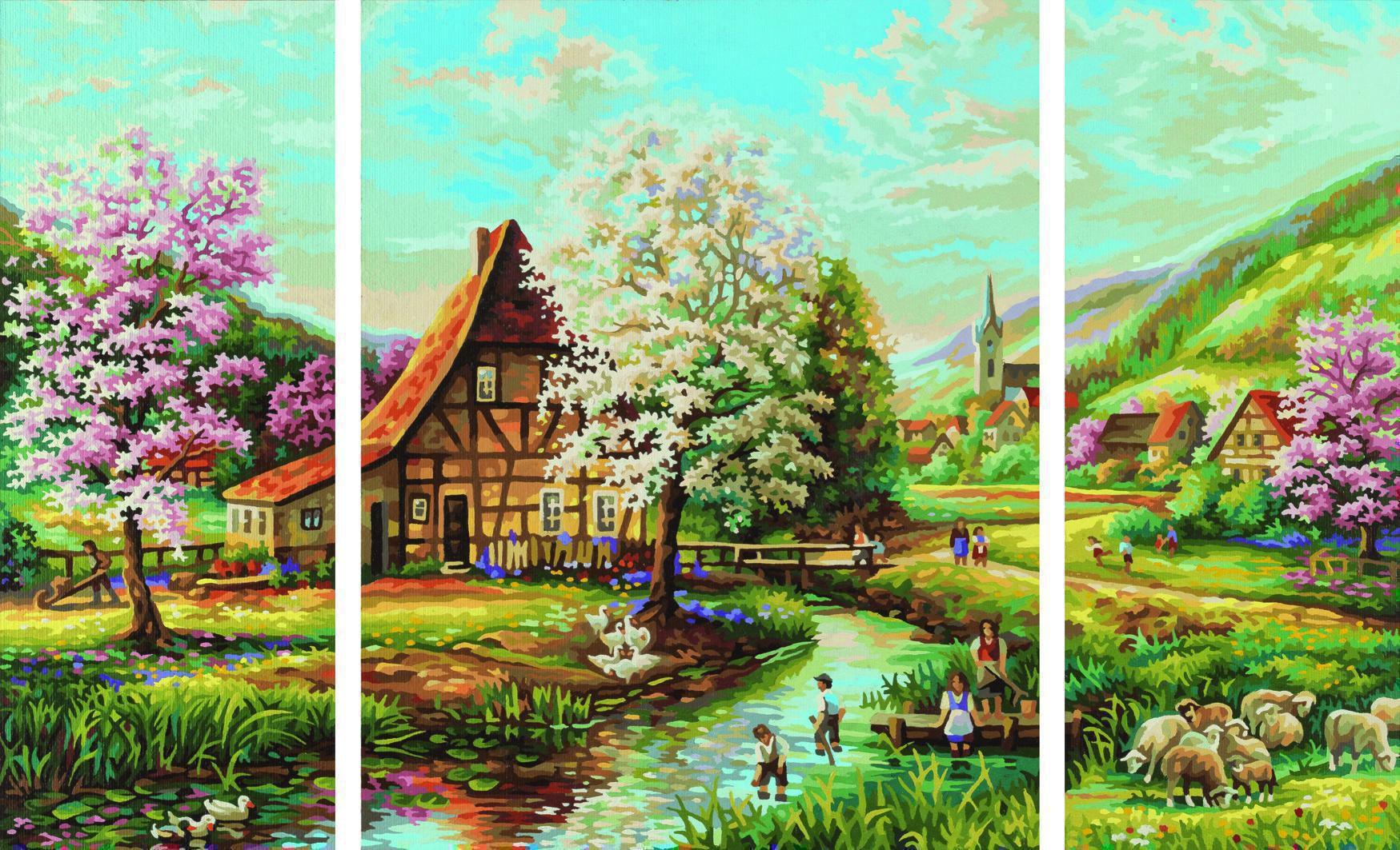 schipper 609260664 l ndliche idylle triptychon malen nach zahlen triptychon. Black Bedroom Furniture Sets. Home Design Ideas