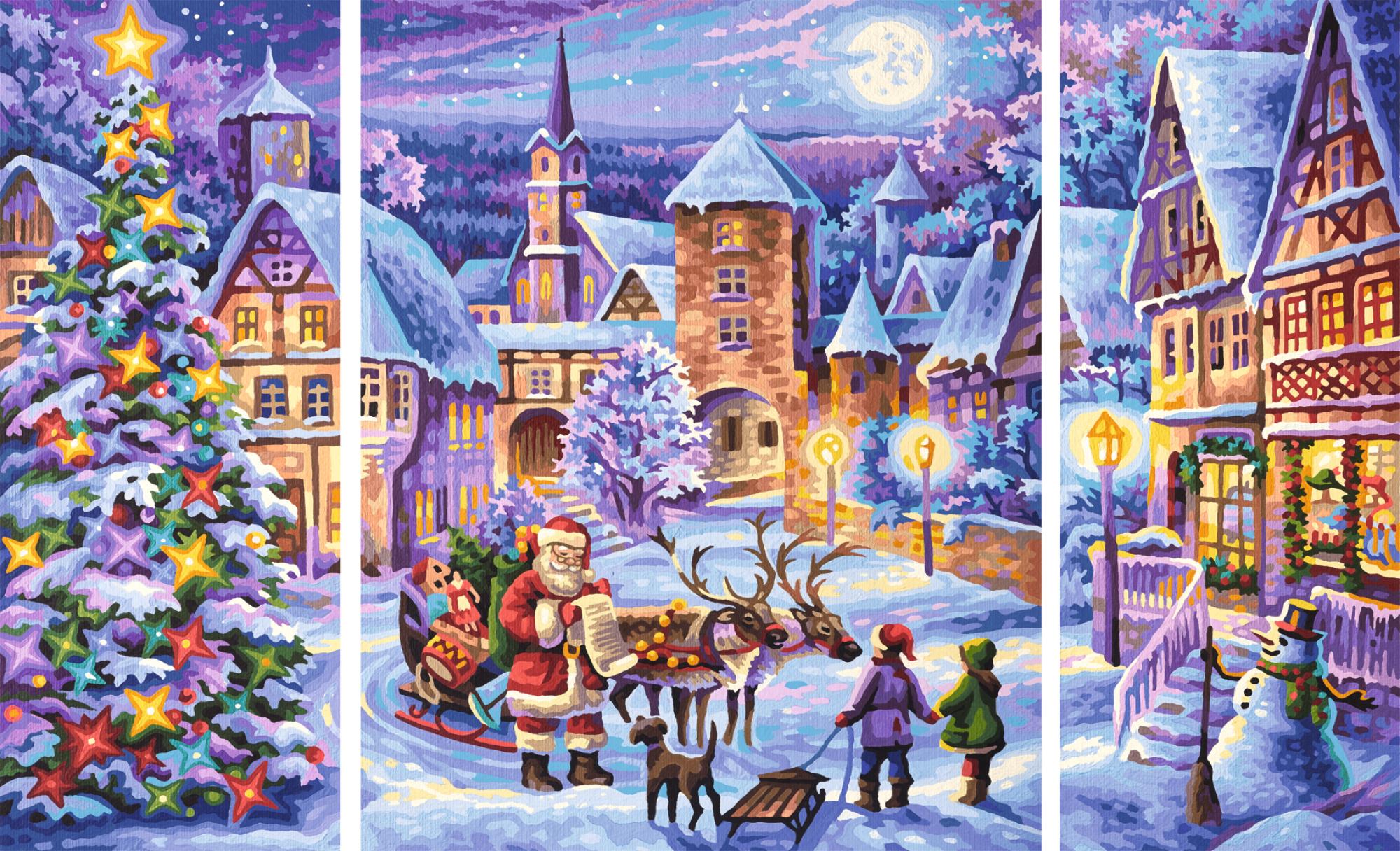 schipper 609260730 wei e weihnacht triptychon malen nach zahlen ebay. Black Bedroom Furniture Sets. Home Design Ideas