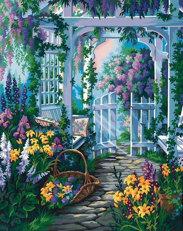 garden gate garten tor malen nach zahlen dimensions hobbyshop. Black Bedroom Furniture Sets. Home Design Ideas