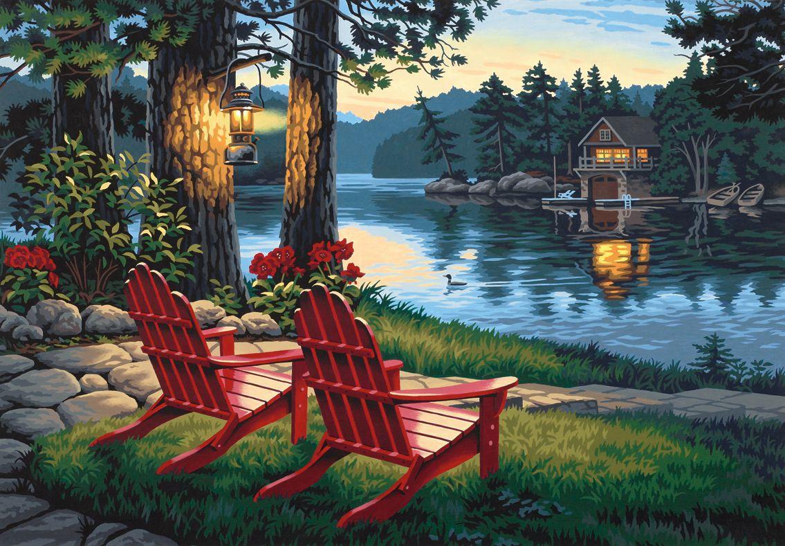 Adirondack Evening Malen Nach Zahlen Mit Acrylfarben