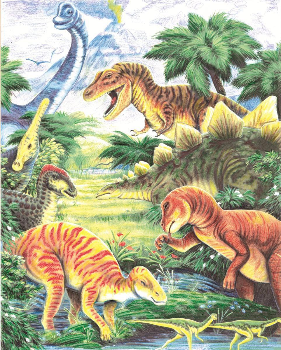 Malen Nach Zahlen Mit Buntstifte Dinosaurier