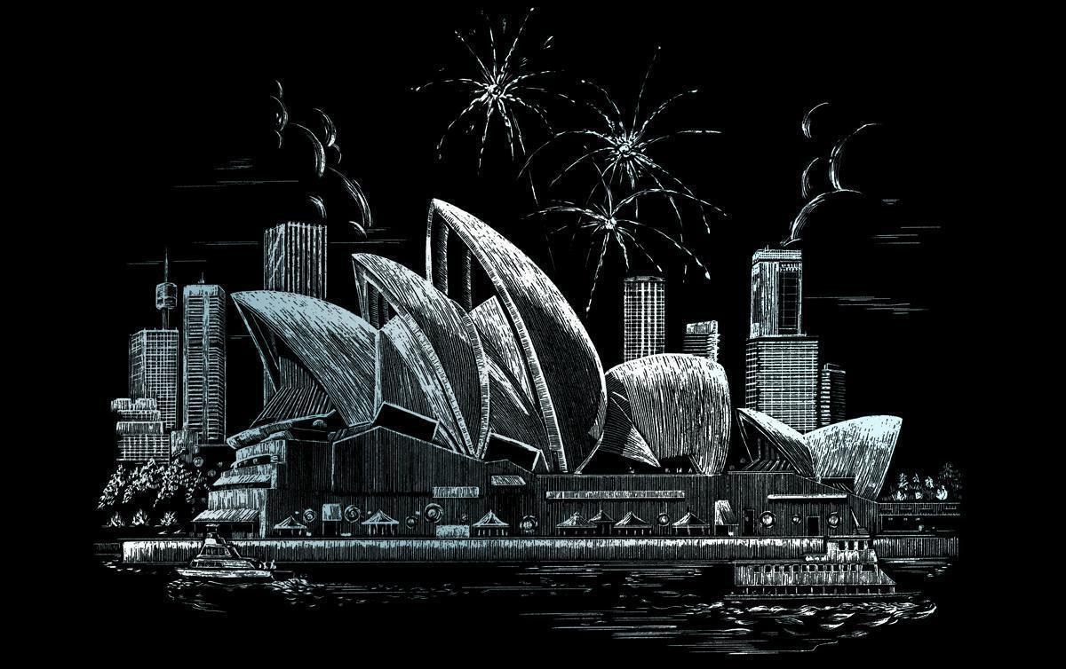 Royal & Langnickel FAM7 Kratzbild silber Opernhaus in Sydney ...