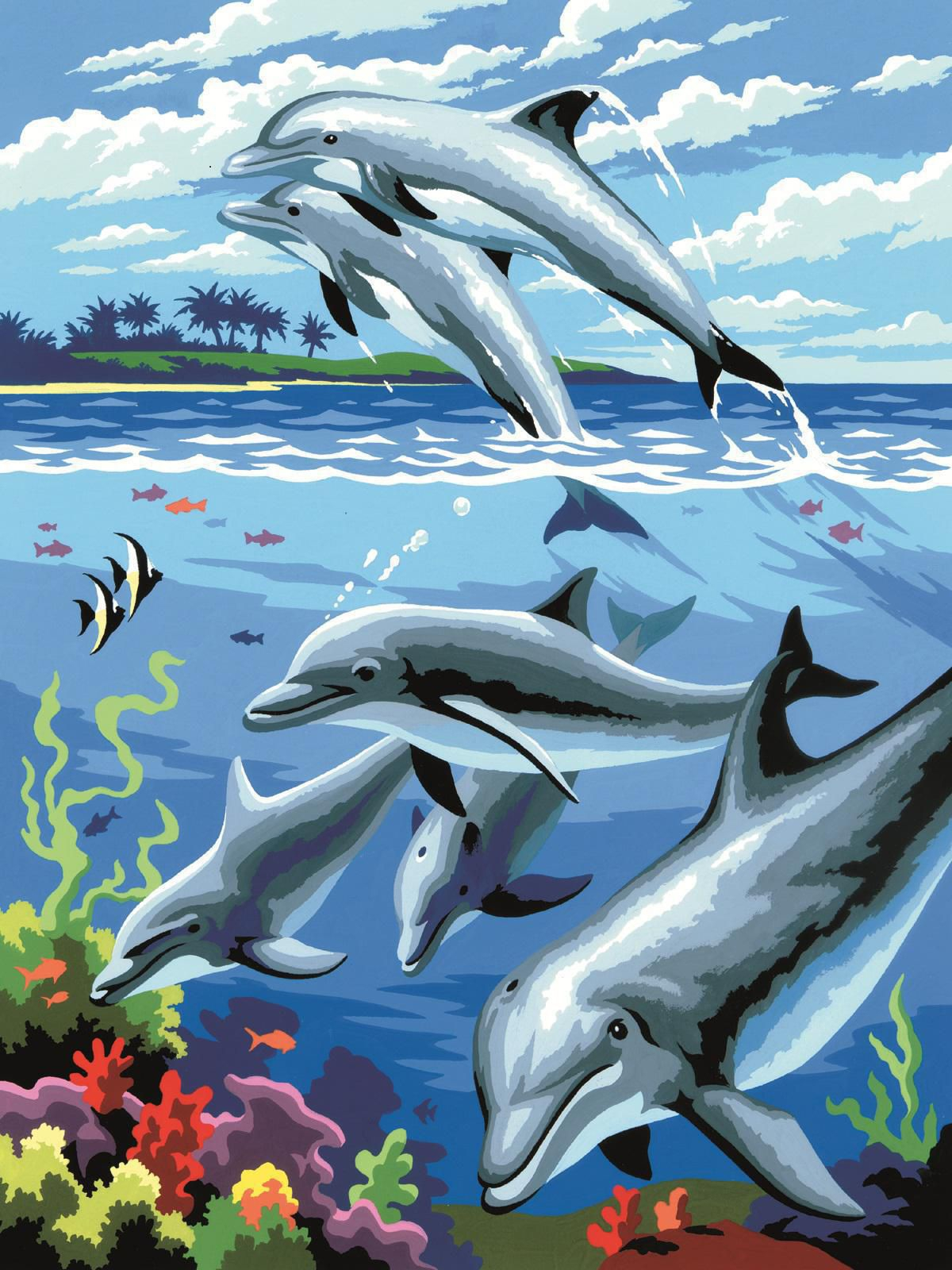 Malen Nach Zahlen Delfine Pjs24