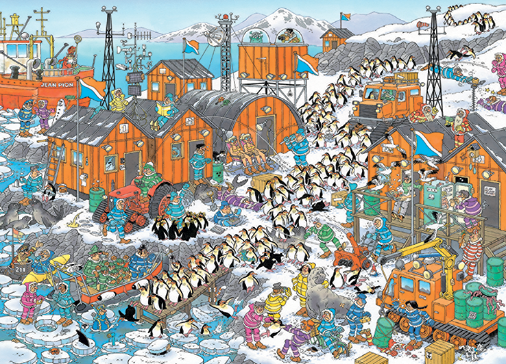 Cartoon Puzzle In der Bibliothek Haasteren Jumbo 1000 Teile Bücher Lesen
